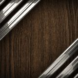 Fundo de madeira com elemento do metal Fotografia de Stock Royalty Free