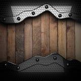 Fundo de madeira com elemento do metal Imagem de Stock Royalty Free