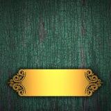 Fundo de madeira com faixa dourada Fotografia de Stock Royalty Free