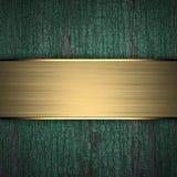Fundo de madeira com faixa dourada Imagens de Stock Royalty Free