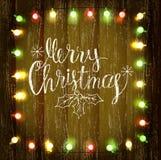 Fundo de madeira com festão do Natal Imagem de Stock Royalty Free