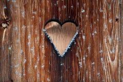 Fundo de madeira com flocos de neve Imagens de Stock