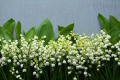 Fundo de madeira com flores Fotografia de Stock