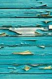 Fundo de madeira com pintura azul esverdeado da casca Foto de Stock Royalty Free