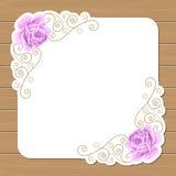 Fundo de madeira com rosas Imagens de Stock
