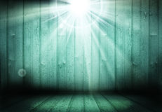 Fundo de madeira da fase vazia com luzes Imagens de Stock Royalty Free