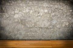Fundo de madeira da textura do assoalho e do muro de cimento Fotografia de Stock Royalty Free