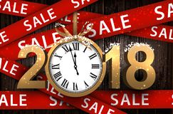 Fundo 2018 de madeira da venda com pulso de disparo Imagens de Stock