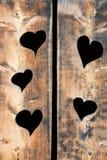 Fundo de madeira das pranchas com coração Fotos de Stock