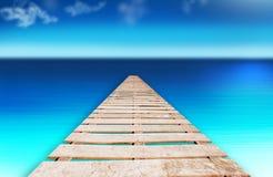 Fundo de madeira do azul da água da praia da ponte do cais ilustração royalty free