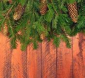 Fundo de madeira do Natal com árvore de abeto Foto de Stock Royalty Free