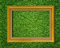 Fundo de madeira do quadro do ouro Foto de Stock