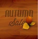 Fundo de madeira do vetor da venda do outono Imagens de Stock Royalty Free