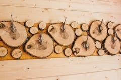 Fundo de madeira dos ganchos de roupa Abstracção Imagens de Stock Royalty Free