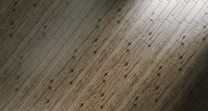 Fundo de madeira realístico do assoalho em Sunny Room 3d que rendeing Fotografia de Stock