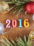 Fundo de madeira sobre o ano novo feliz 2016 Fotografia de Stock Royalty Free