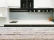 Fundo de madeira vazio da tabela e da cozinha Foto de Stock