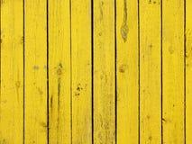Fundo de madeira velho colorido amarelo da textura da prancha Imagem de Stock