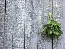 Fundo de madeira velho com o ramalhete prudente em um lado Imagens de Stock Royalty Free