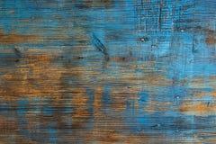 Fundo de madeira velho, textura do grunge com pintura azul e pregos Foto de Stock