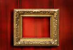 Fundo de madeira vermelho com frame Imagens de Stock