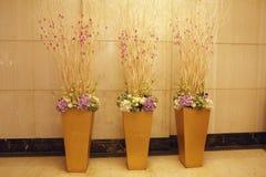 Fundo de mármore antes de pôr três flores bonitas Imagem de Stock