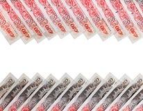 Fundo de muitas 50 notas de banco de libra esterlina Fotografia de Stock Royalty Free