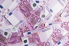 fundo de muitas 500 euro- cédulas Moeda da UE Imagem de Stock