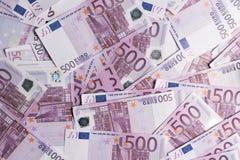 fundo de muitas 500 euro- cédulas Moeda da UE Fotografia de Stock