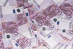 fundo de muitas 500 euro- cédulas Moeda da UE Foto de Stock