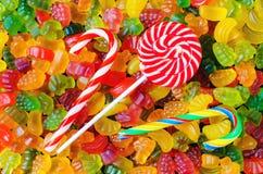 Fundo de muitos doces brilhantes e coloridos da geleia Foto de Stock