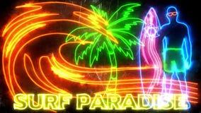 Fundo de néon ardente colorido do gráfico do movimento do paraíso da ressaca filme