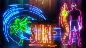 Fundo de néon colorido do gráfico do movimento da animação da ressaca vídeos de arquivo