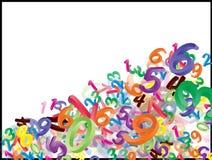 Fundo de números de queda dos desenhos animados, dígitos Ilustração engraçada, alegre e colorida para crianças no fundo branco Fotografia de Stock Royalty Free