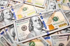 Fundo de 100 notas de dólar Americano do dinheiro cem bi do dólar Imagem de Stock