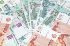 Fundo de notas de banco do rublo Fotografia de Stock Royalty Free