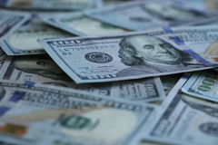 Fundo de 100 notas de dólar Foto de Stock Royalty Free