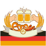Fundo de Oktoberfest com mãos e cervejas. Vetor Imagens de Stock Royalty Free