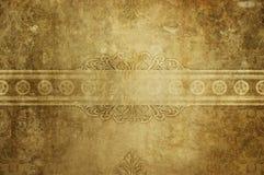 Fundo de papel amarelado velho com testes padrões do vintage Estilo do Grunge Imagens de Stock