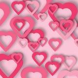Fundo de papel cor-de-rosa brilhante do vetor dos corações ilustração stock