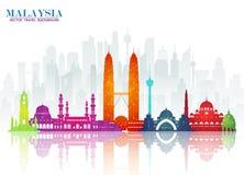 Fundo de papel global do curso e da viagem do marco de Malásia VE ilustração stock