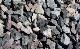 Fundo de pedra, pedras Teste padrão das pedras Textura esmagada das pedras Apedreja rochas da construção Vista superior fotografia de stock royalty free