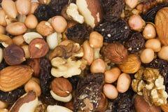 Fundo de porcas misturadas e de frutas secadas Fotografia de Stock Royalty Free