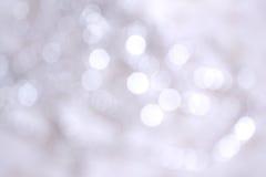 Fundo de prata da luz de Natal Fotografia de Stock