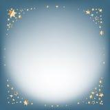 Fundo de prata do sumário do inverno Fundo do Natal com estrelas douradas e lugar para o texto Vetor Fotografia de Stock Royalty Free