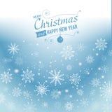 Fundo de prata do sumário do inverno Natal com flocos de neve Vetor Fotos de Stock Royalty Free