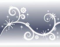 Fundo de prata dos flocos de neve das estrelas Foto de Stock Royalty Free