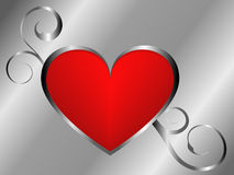 Fundo de prata e vermelho do amor ilustração do vetor