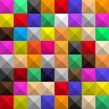Fundo de quadrados coloridos id?nticos com m?scaras e caras, sob a forma de um mosaico volum?trico geom?trico gr?fico ilustração royalty free