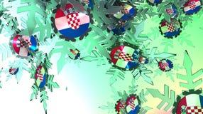 Fundo de queda da neve Bandeira de Croatia Fotografia de Stock Royalty Free